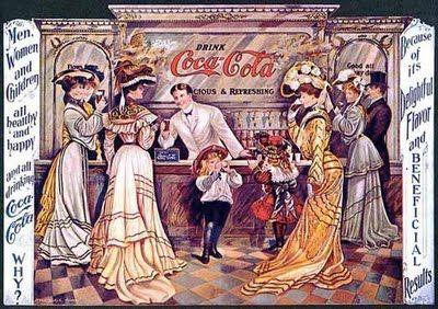 Al inicio y por sus características medicinales, Coca Cola se vendió por primera vez en bares que no servían bebidas alcohólicas, y que, en la mayoría de las veces, formaban parte de las boticas y farmacias de la época. El producto es descrito como un refresco de bar y como un tratamiento para remediar la tisis.