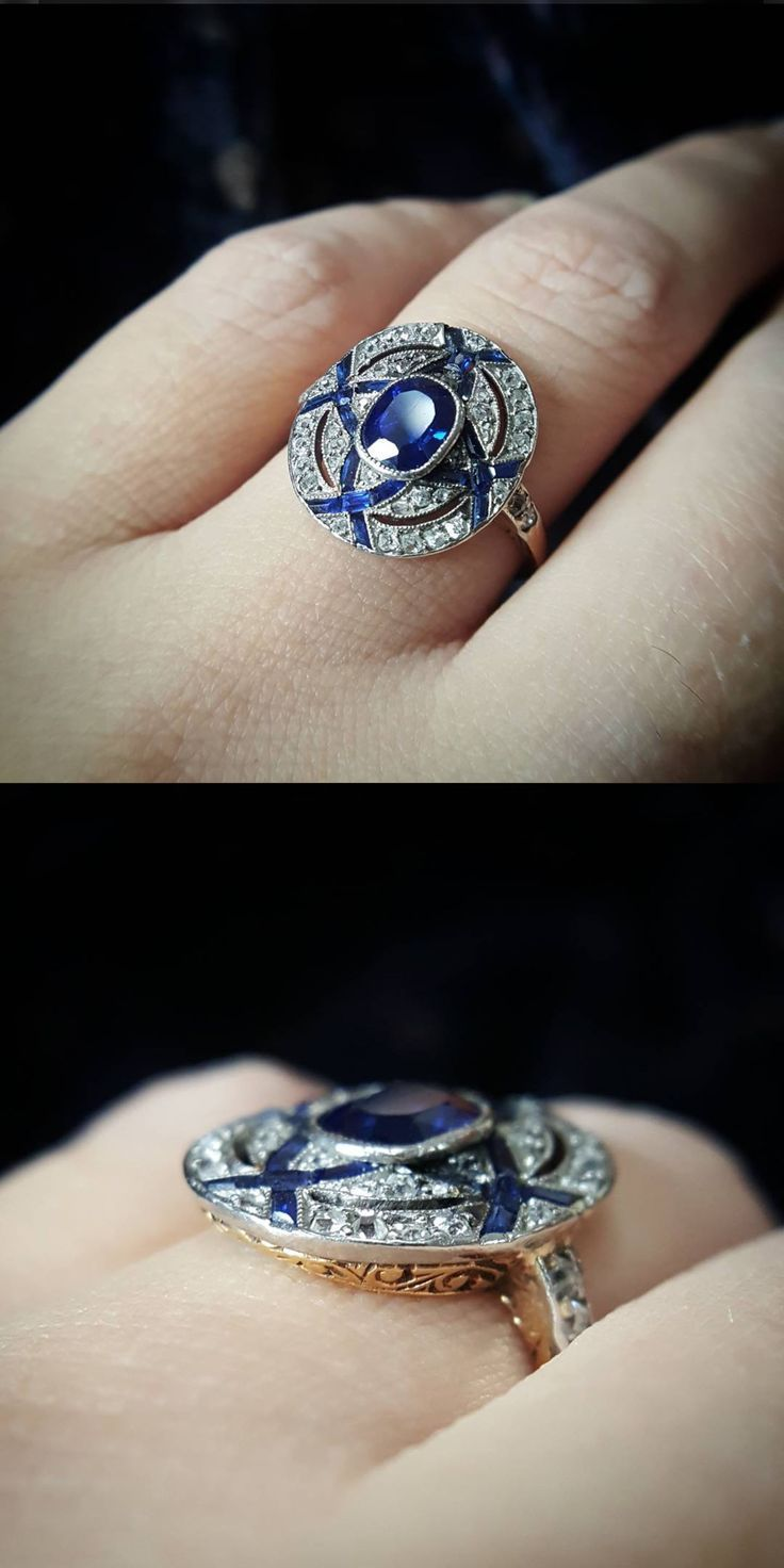 Antique edwardian art deco sapphire engagement ring with