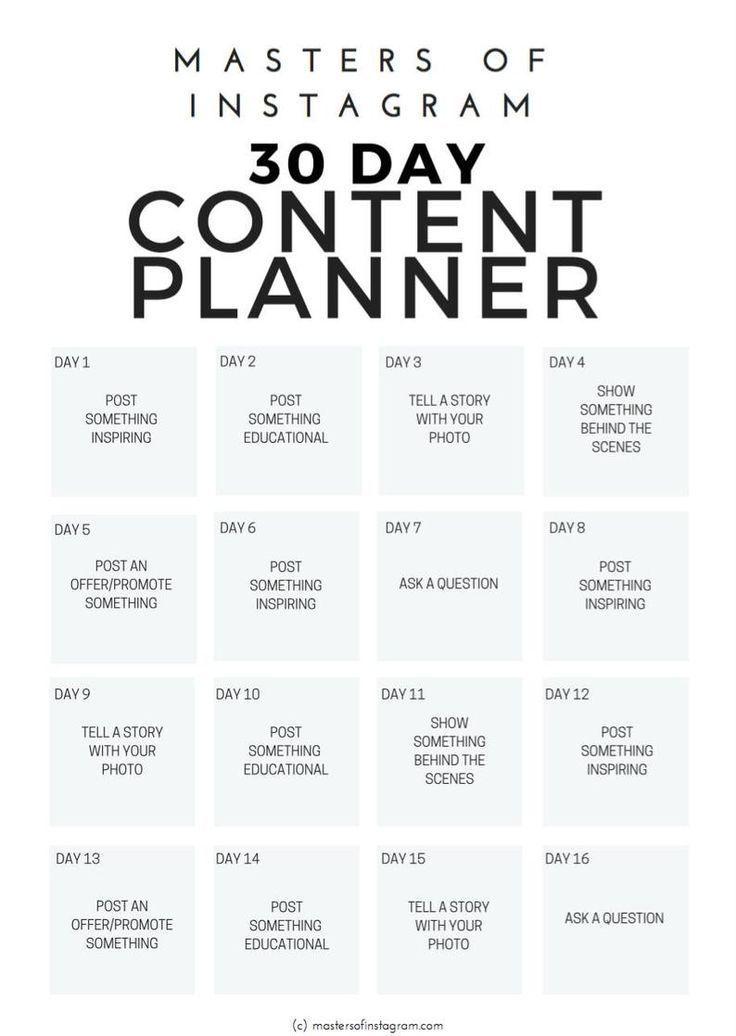 30 Day Instagram Content Planner | Instagram Plann
