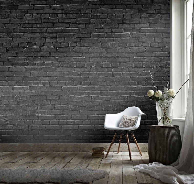 3d Black Retro Brick Wall Effect Wallpaper Mural Peel And Etsy Black Brick Wall Painted Brick Walls Black Brick Wallpaper