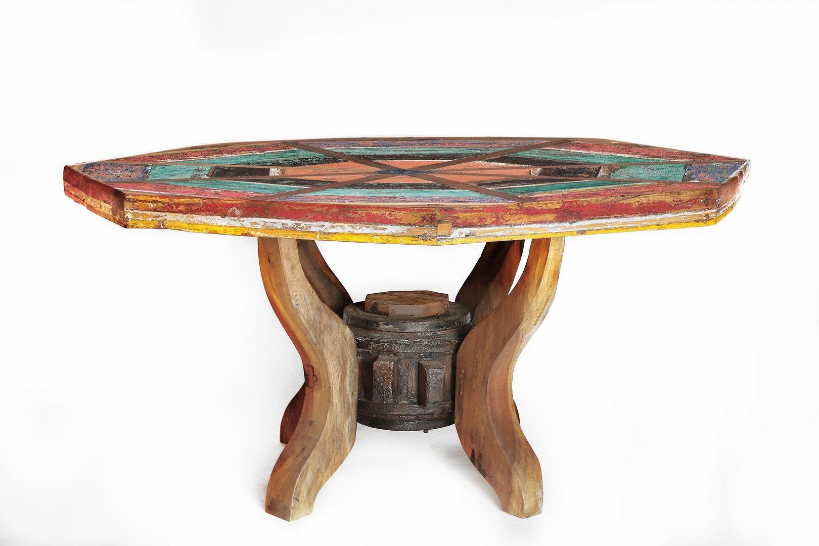 Table Octogonale En Bois De Bateaux De Java Recycl Bois Massif  # Meuble Bois Recycle Bateau