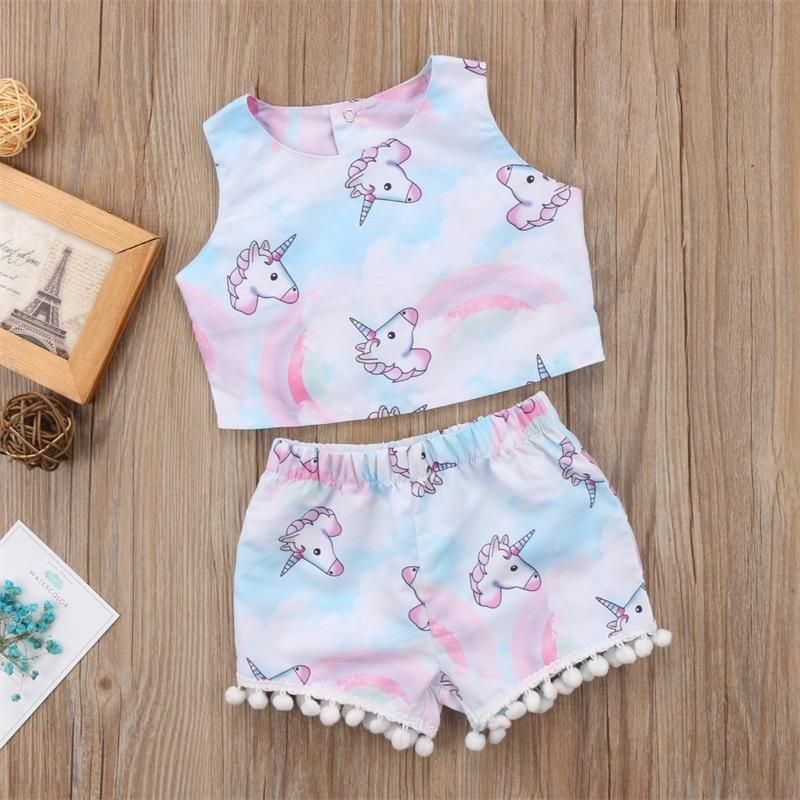 Toddler Infant Kids Baby Girls Strap Shirt Tops Leopard Print Shorts Outfits Set