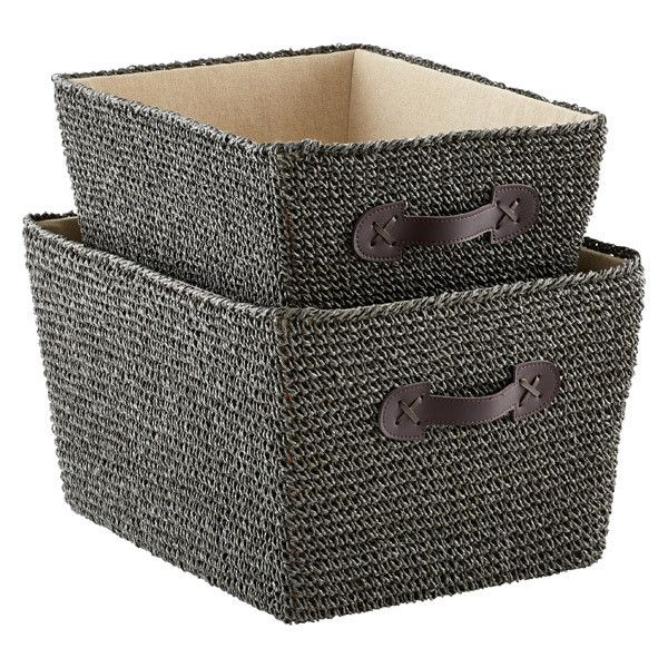 Grey Crochet Storage Bins with Handles (u20ac563) ? liked on Polyvore  sc 1 st  Pinterest & Grey Crochet Storage Bins with Handles (u20ac563) ? liked on Polyvore ...