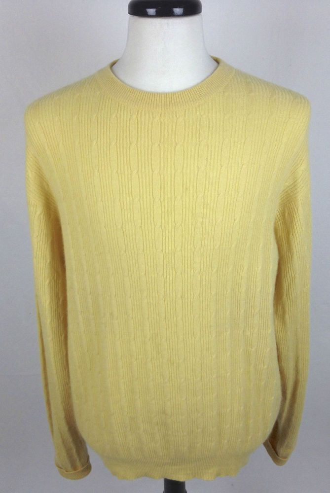 Braemar Cashmere Sweater Mens L Yellow Long Sleeve | Cashmere ...