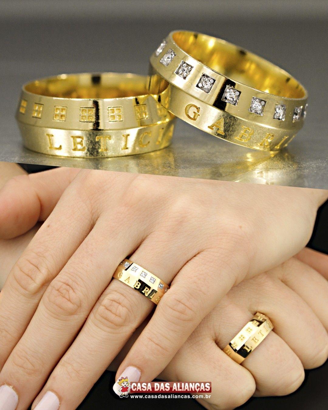 Alianca De Ouro Casamento Misto Com Diamantes As0907 As0908 Em