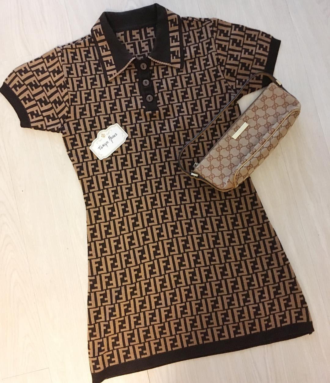 7bdea3eb358f27  #todaysoutfit Fendi FF Logo Zucca print Knit Dress and Gucci monogram  purse #flatlayoftheday #tokyorosesvintage