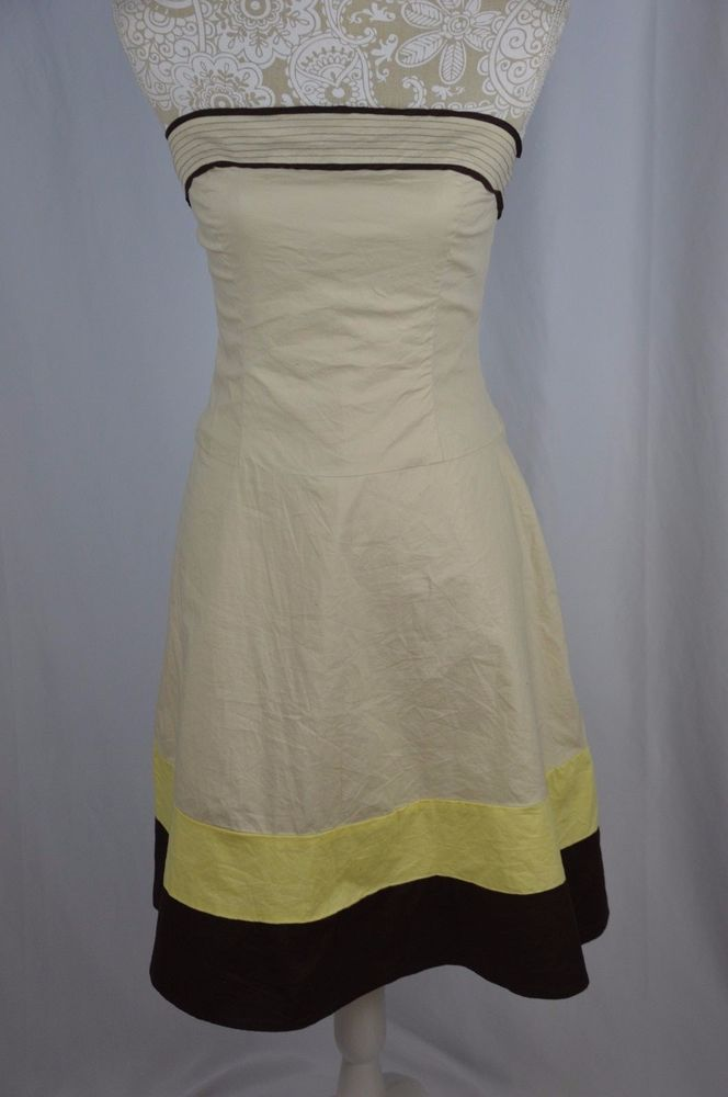 764a444e94 Charlotte Russe Womens 5 6 Strapless Lined Beige Brown Yellow Dress Mid  Calf  CharlotteRusse  Sundress  Casual