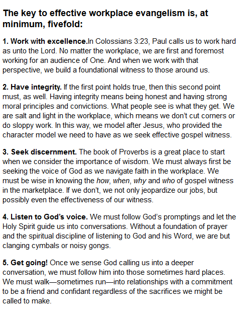 5 Keys To Workplace Evangelism As Told By At Outreachmag