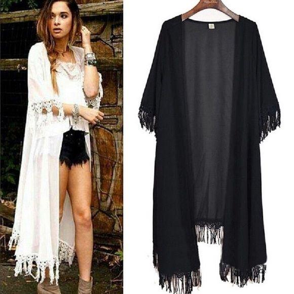 Long kimono cardigan tassels | Long kimono cardigan, White maxi ...