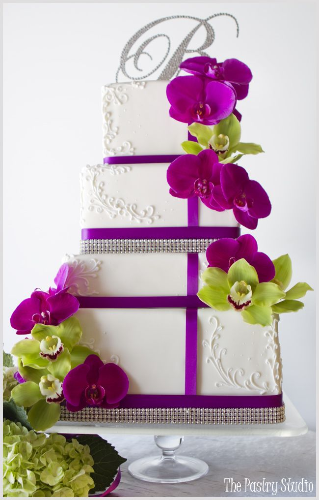 Radiant Orchid and Lime Green Wedding Cake by The Pastry Studio: Daytona Beach, Fl