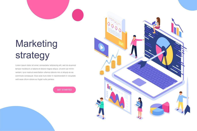 Digital Marketing Isometric Concept Vector Illustration Ai Eps Isometric Design Marketing Concept Recruitment Poster Design