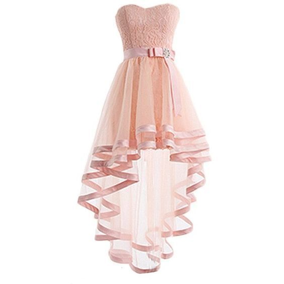 Pink Tulle High Low Homecoming Dress, Sweetheart Lace Prom Dress 0632