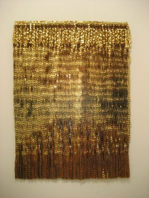 Olga De Amaral, Escrito X, fiber, gold and silver leaf, acrylic paint