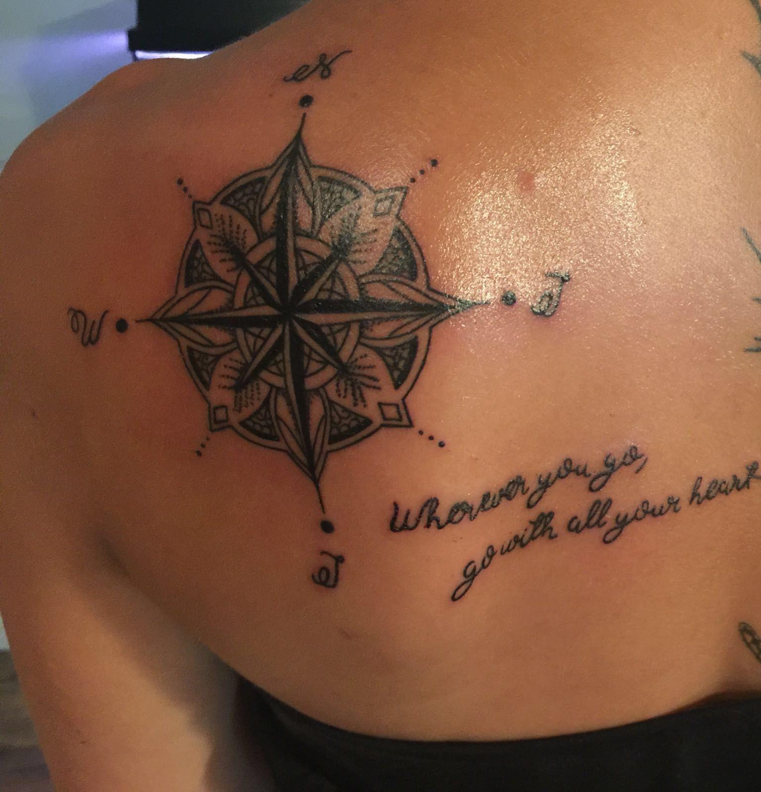 Tattoo compass Tattoo Kompass Mandala Design Tattoo for Women Back/shoulder tattoo