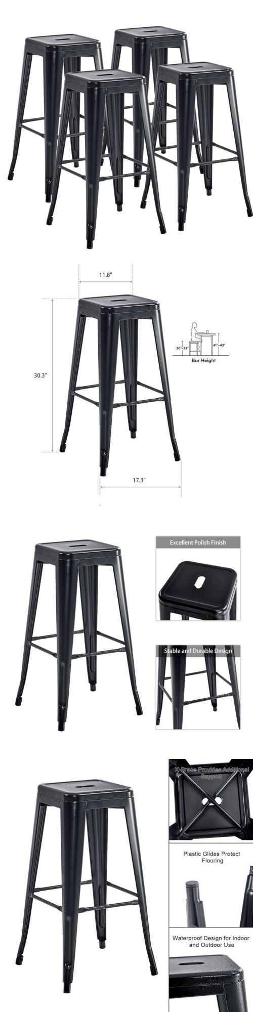 Bar Stools 153928 Set Of 4 Industrial Metal Bar Stools 30 High