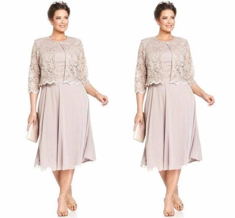 The Mother of Groom Dresses Tea Length Long Sleeves