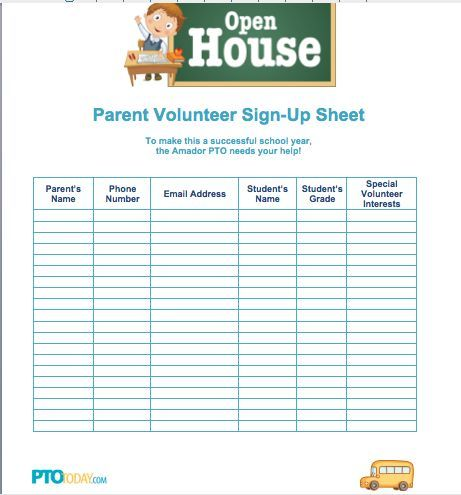 SignUp Sheet For Open House From Pto Today  Pto    Pto