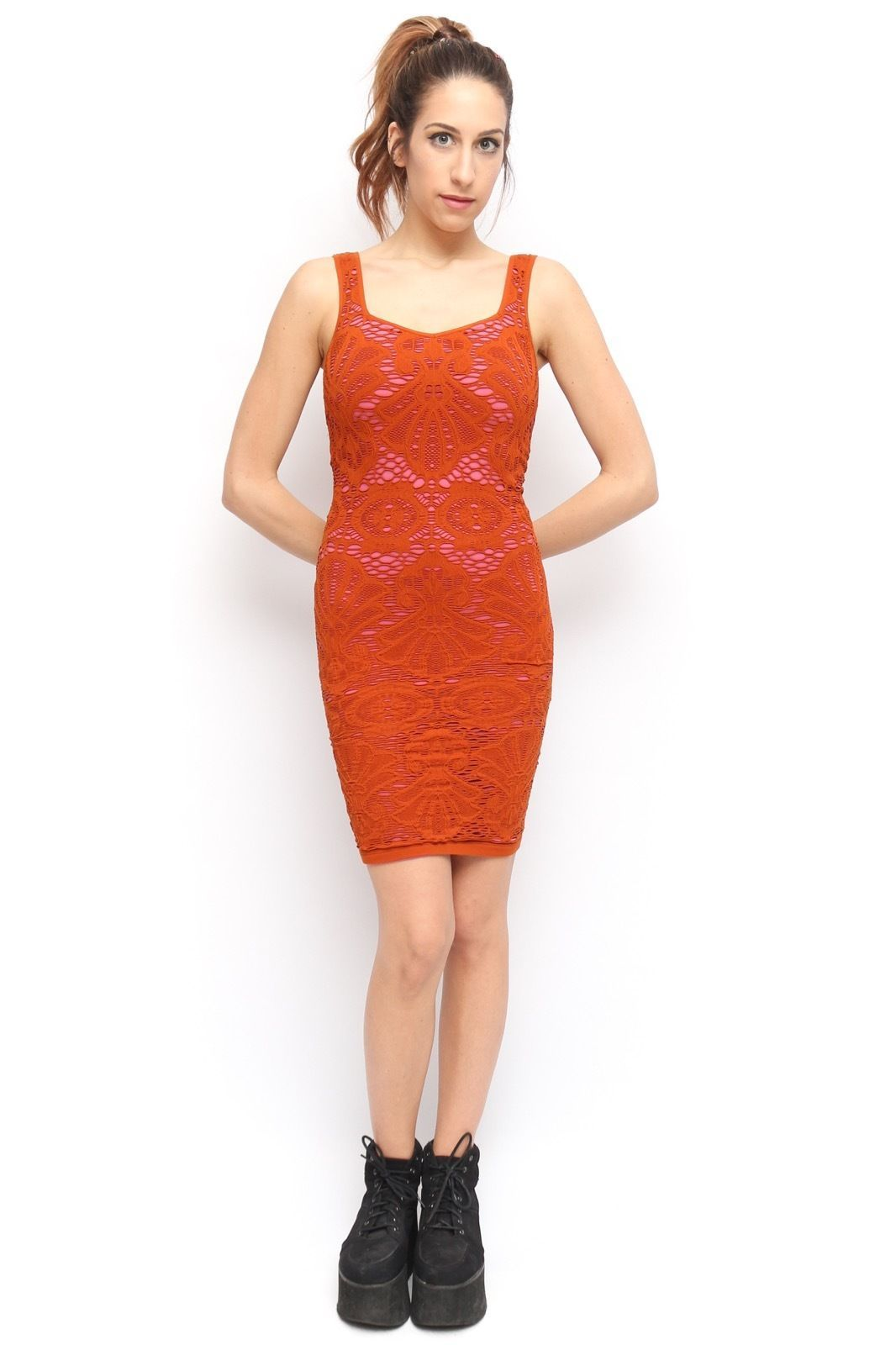 Free People Orange Pink Stretch Lace Seashell Mermaid Bodycon Dress ...