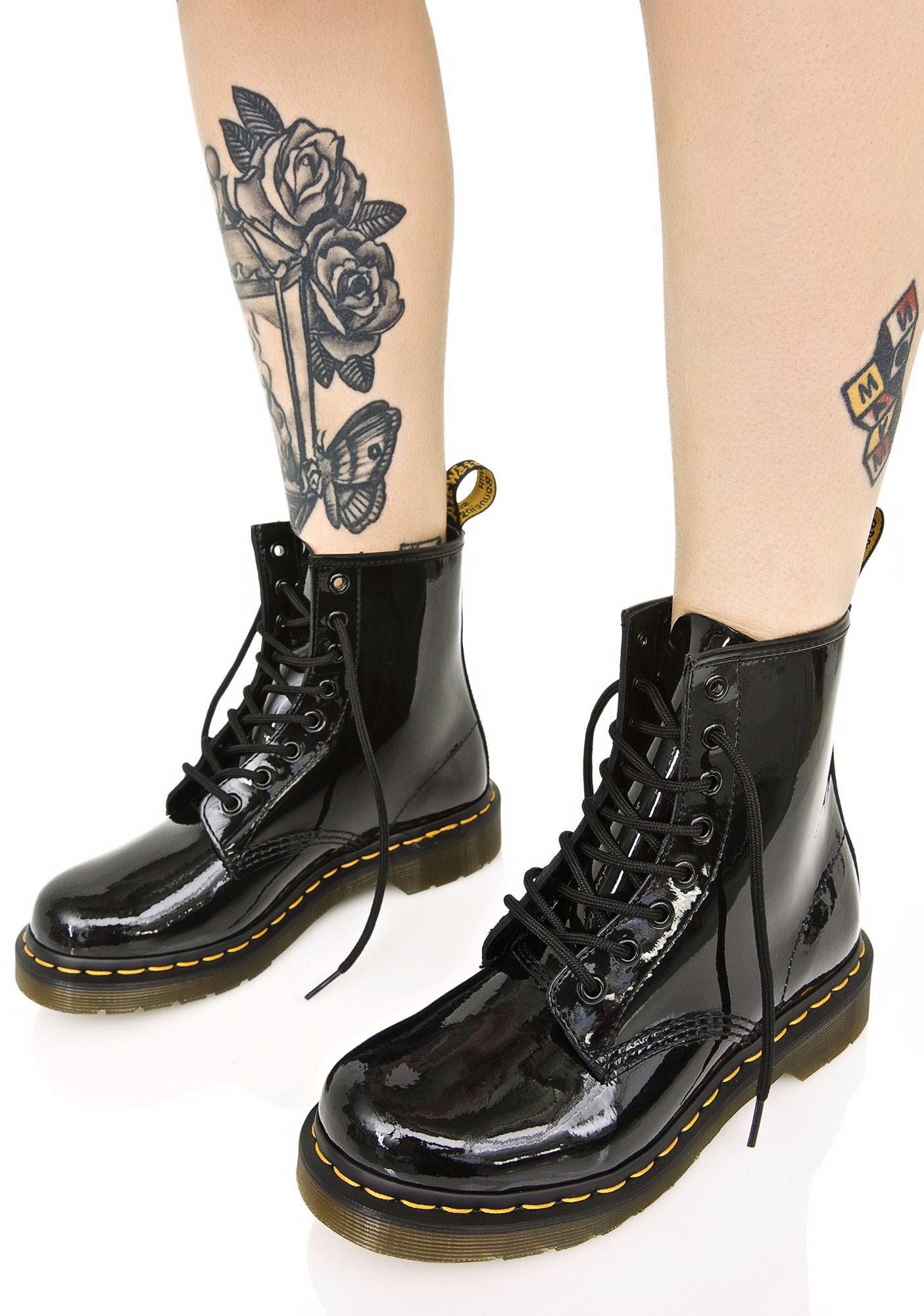 396b3e9370a2 Dr. Martens Black Patent 1460 8 Eye Boots ...fights