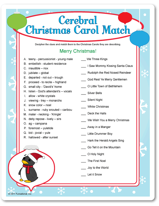 It is a picture of Delicate Christmas Carol Game Printable