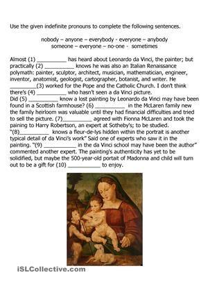 Indefinite Pronouns And Leonardo Da Vinci Indefinite Pronouns