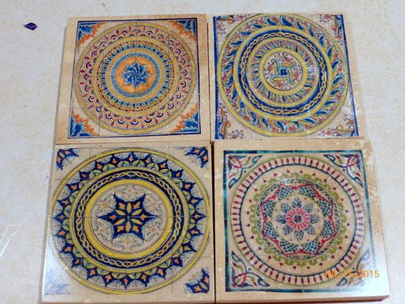 Decorative Tile Coasters Beauteous Moroccan Tile Coasters Travertine Coastersjuliebutlercreations Decorating Design
