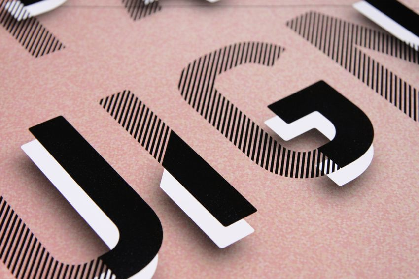 typography / pink / black & white / stripes / graphic design / 3d text / font / bold / mixed pattern / graphic design #3dtypography