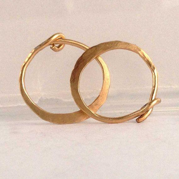 Solid 14k Gold Hoop Earrings In 18 Ga 3 4 Inch Hammered 14k