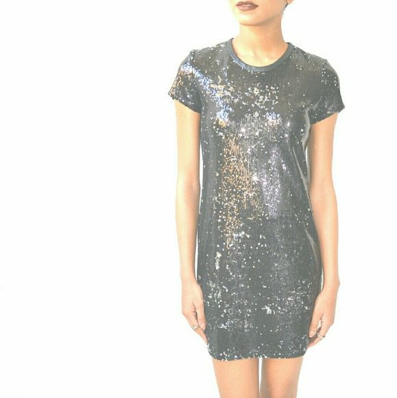 Generation Love Sequin Dress The ultimate black party dress, with leather trim around the neck. NWOT Generation Love Dresses Mini