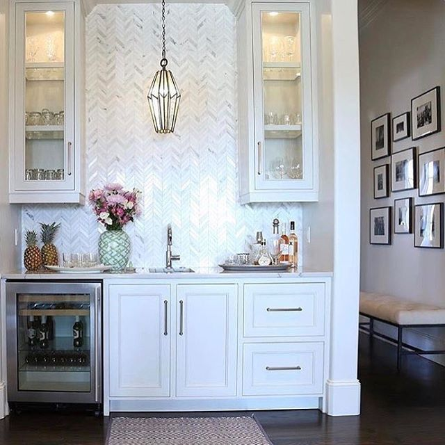 The Herringbone Backsplash Is Perfect Complement To This Built In Bar