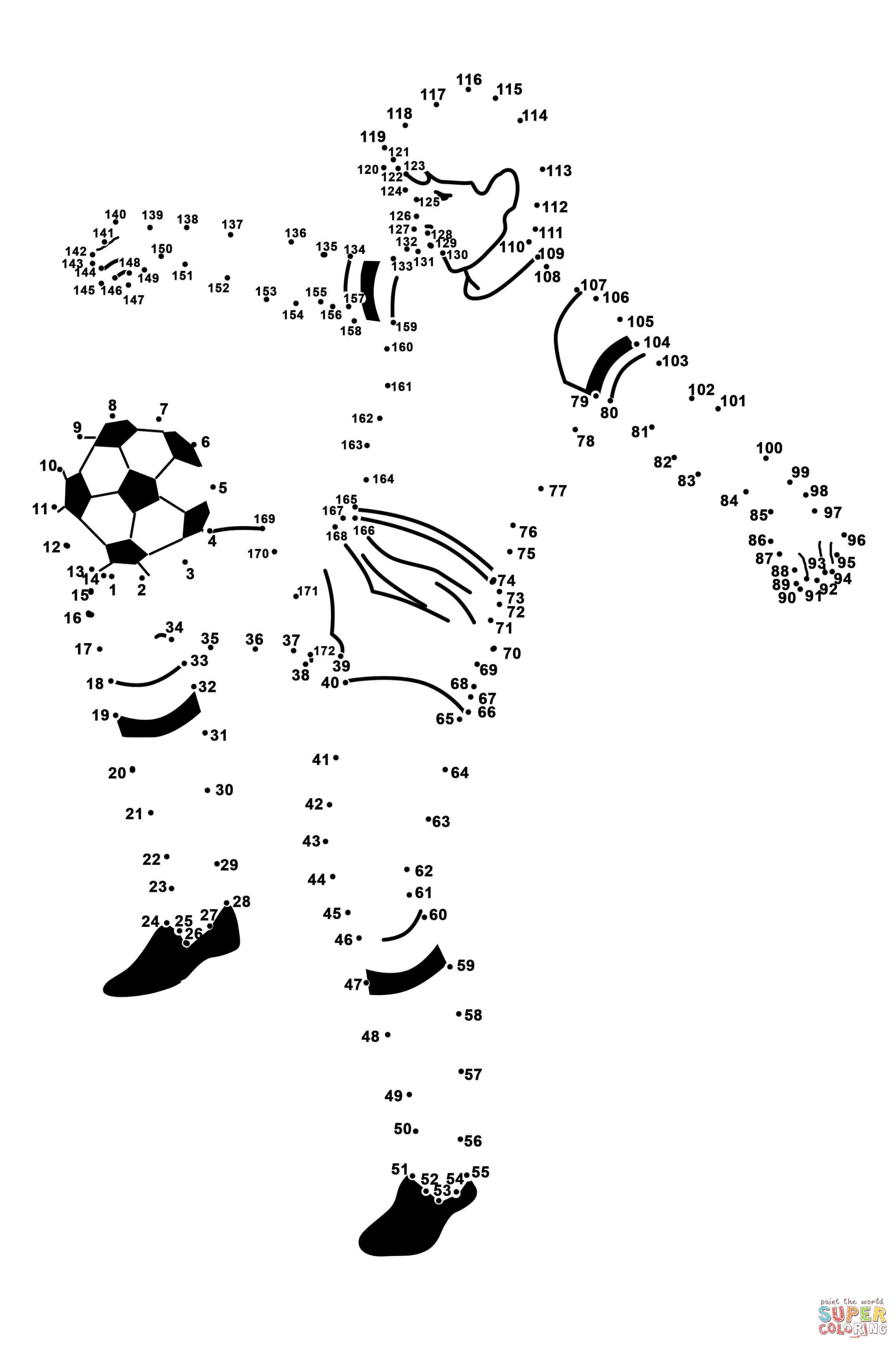 Soccer Player Dot To Dot Free Printable Coloring Pages