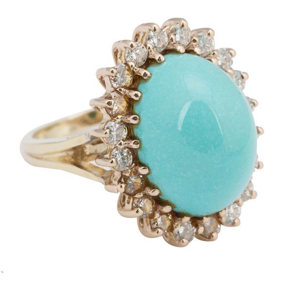 Pre-Owned Vintage 18k Yellow Gold Turquoise and Diamond Ring-Sz. 6 ($1,500) ❤ liked on Polyvore featuring jewelry, rings, turquoise, 18k diamond ring, turquoise ring, multi color diamond ring, round diamond ring and gold rings