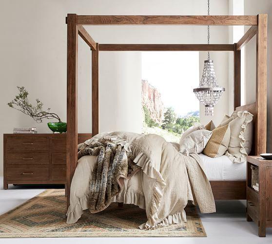 Menlo Reclaimed Teak Canopy Bed Bedroom Sets Furniture