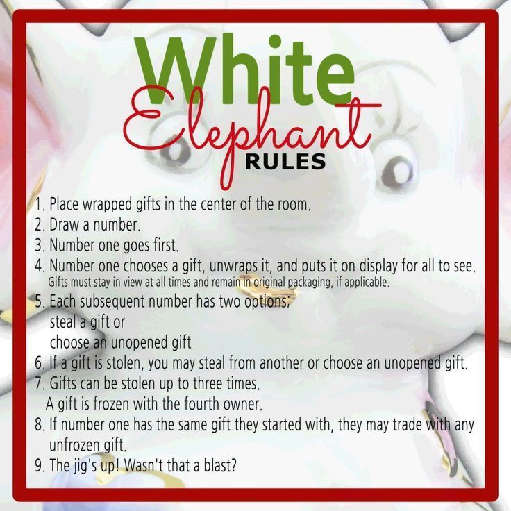 White Elephant Gift Exchange Rules and Printables  #christmasgift #christmasgif #schrottwichtelnideen