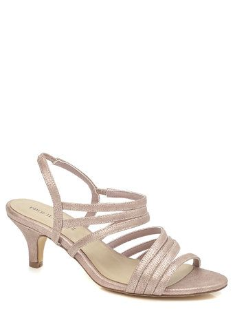 89d0d9f289a Rose Gold Fashion Wide Fit Kitten Heel Strippy Shoes