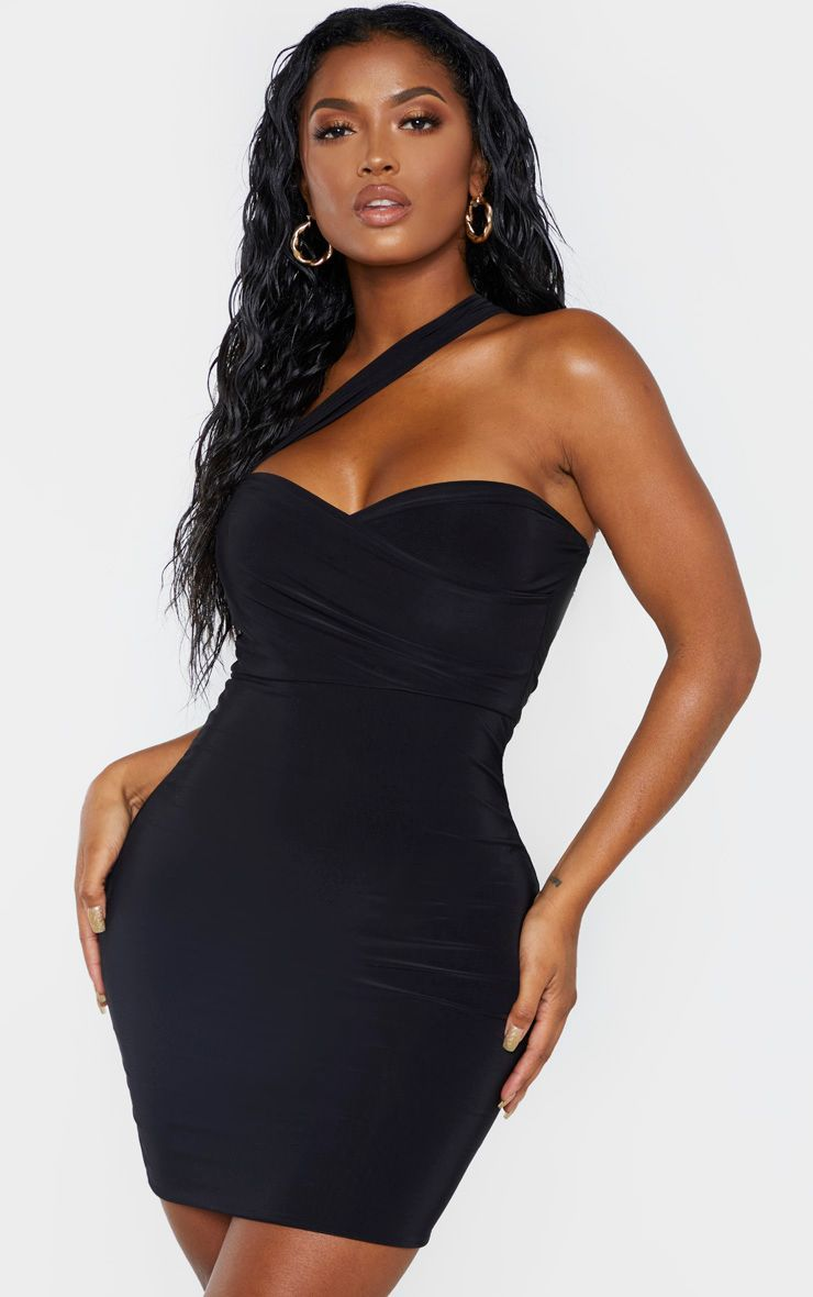 Shape black slinky one shoulder wrap mini dress mini