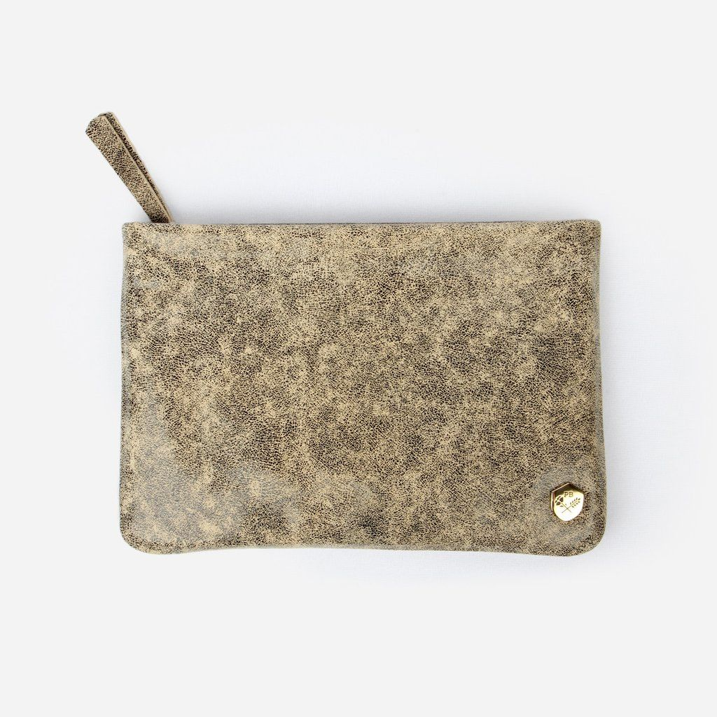 The Clutch -  black speckled print and biege leather clutch handbag - Poppy Barley