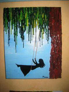 Faites de crayon de cire fondus, cette oeuvre représente une fille qui se balance sur un saule pleureur. Les mélanges de couleurs sont vraiment très beau.