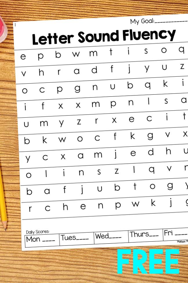 Kindergarten letter sound fluency practice