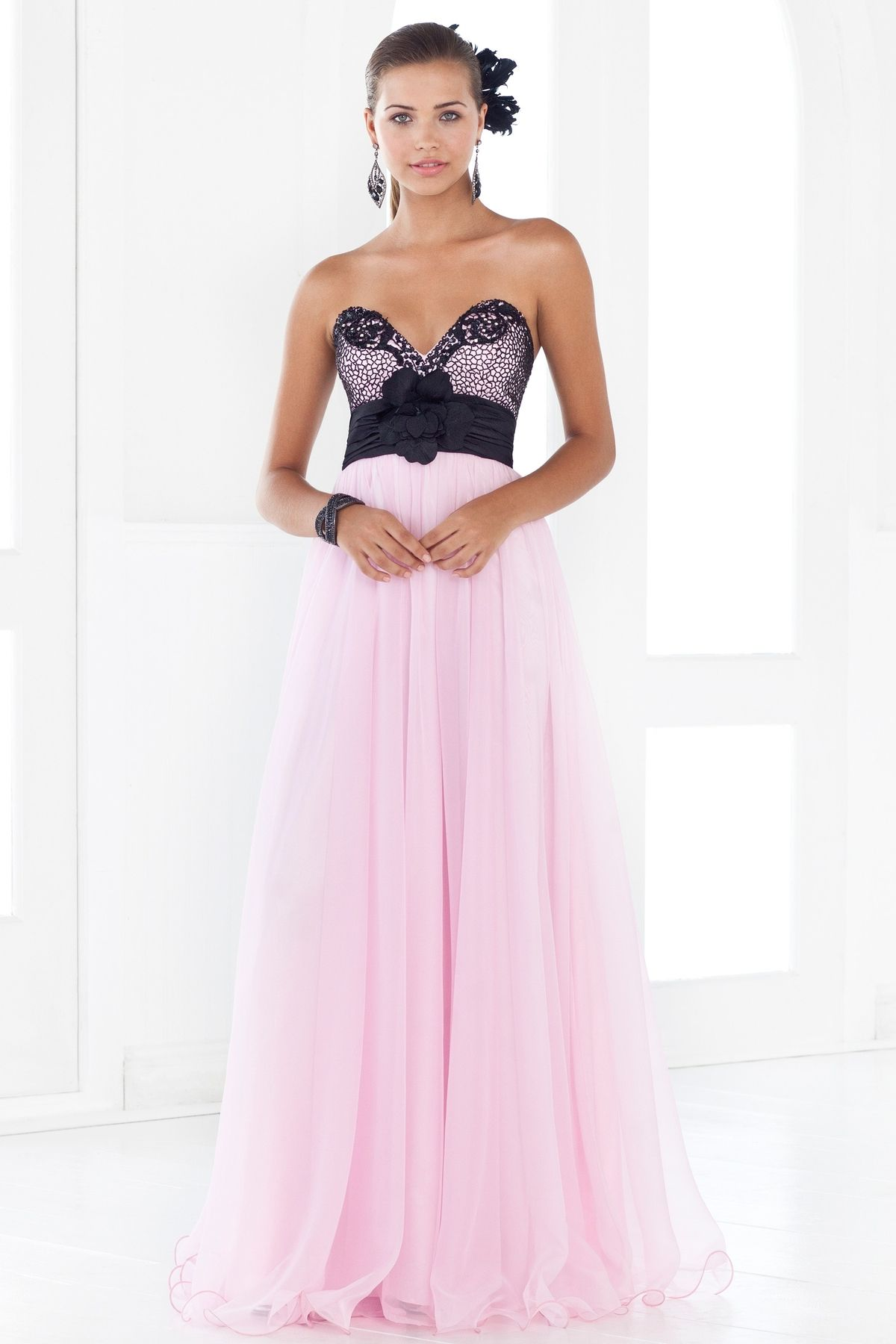 Flowy chiffon drama! This antique black print in delicate stones is ...