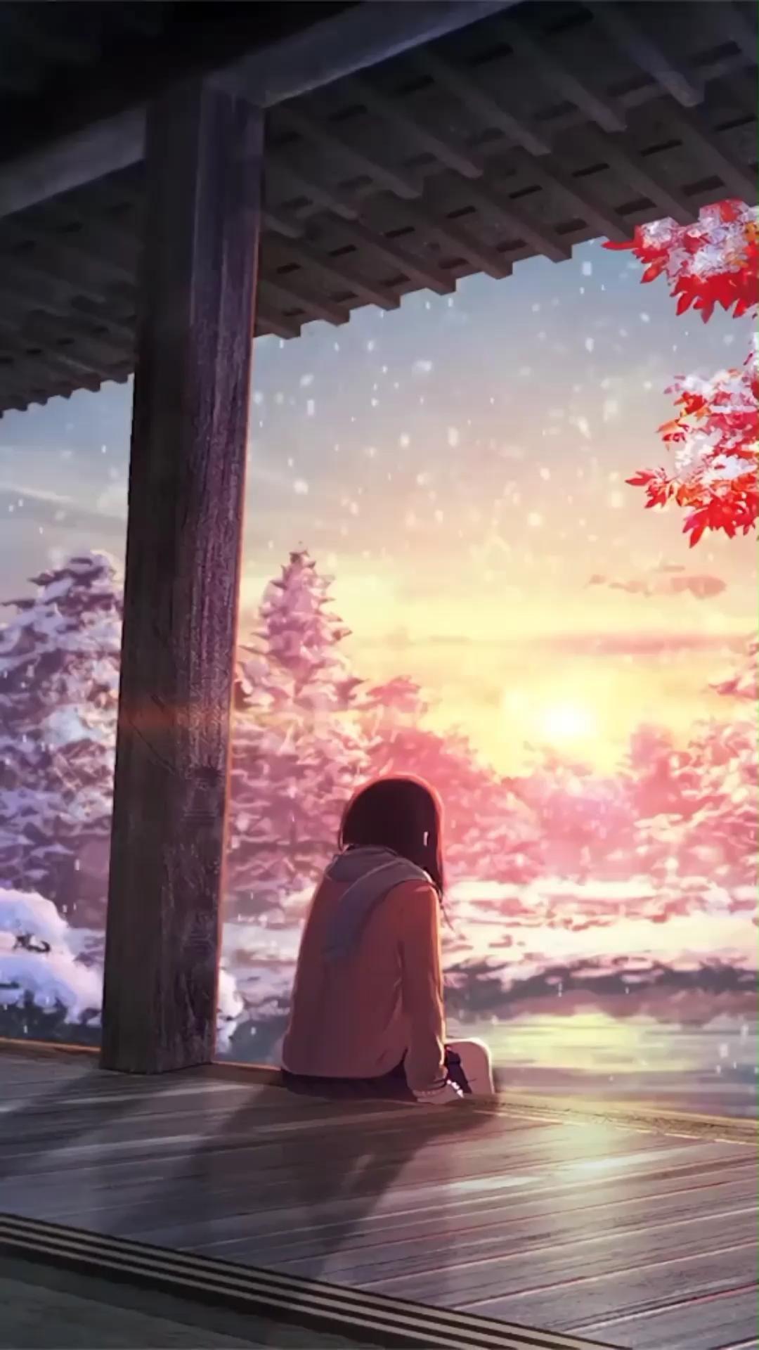 Hình nền động Anime hoàng hôn tuyệt đẹp