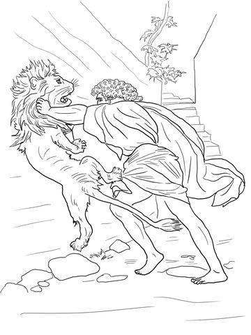 Samson Fighting Lion Coloring Page From Misc Artists Category Select 24848 Printable Crafts