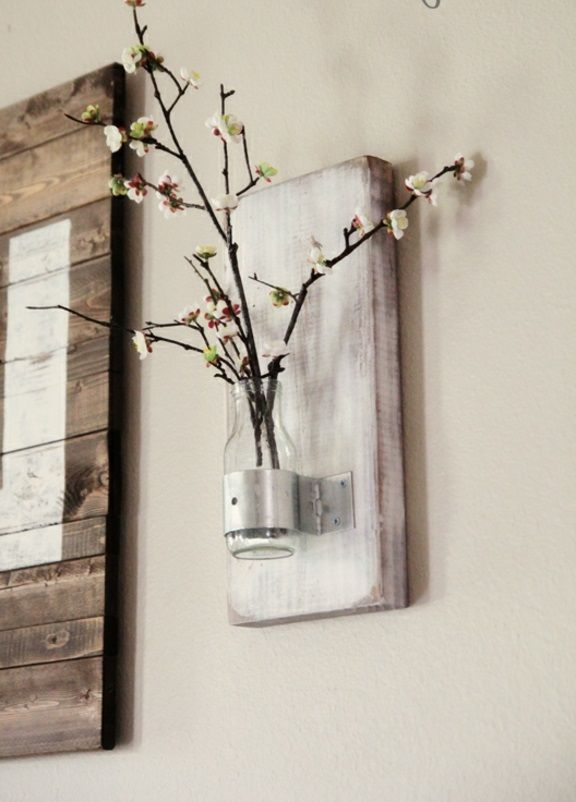 DIY Deko Ideen Weiß Bemalt Holzbrett Halter Frisch Frühlingsbaum Blüten