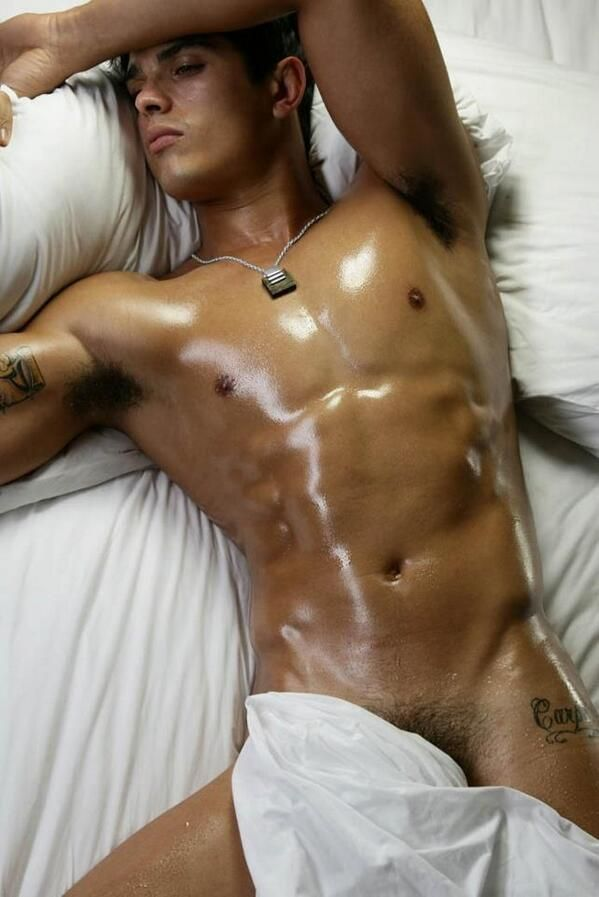 Straight Latino Hunk Gets Oiled Up
