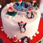 tarta pingüinos en www.dulcesdediseno.com