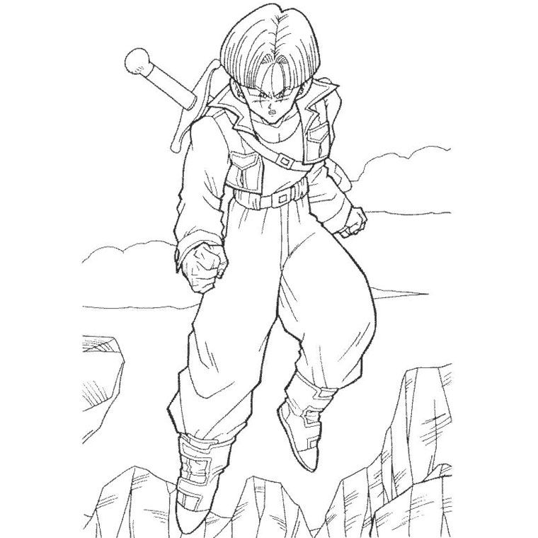 Coloriage dragon ball z trunk a imprimer gratuit dbz - Coloriage gratuit dragon ball z ...