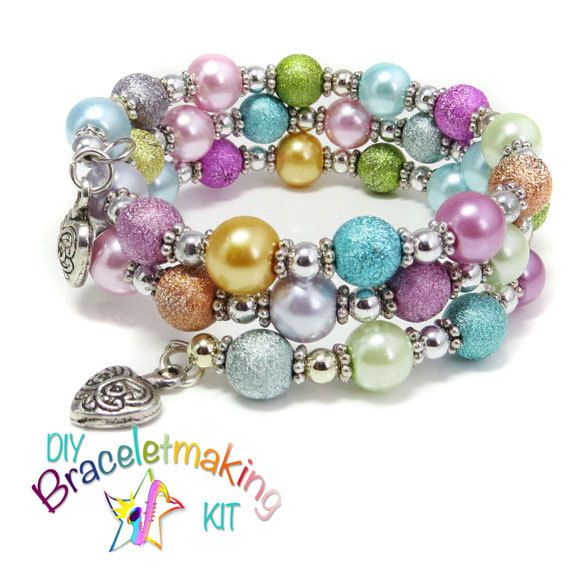 Diy Bracelet Stardust Bead Kids Jewellery Making Kit Morning Dew Wrap Around Memory Wire Jewelry Uk