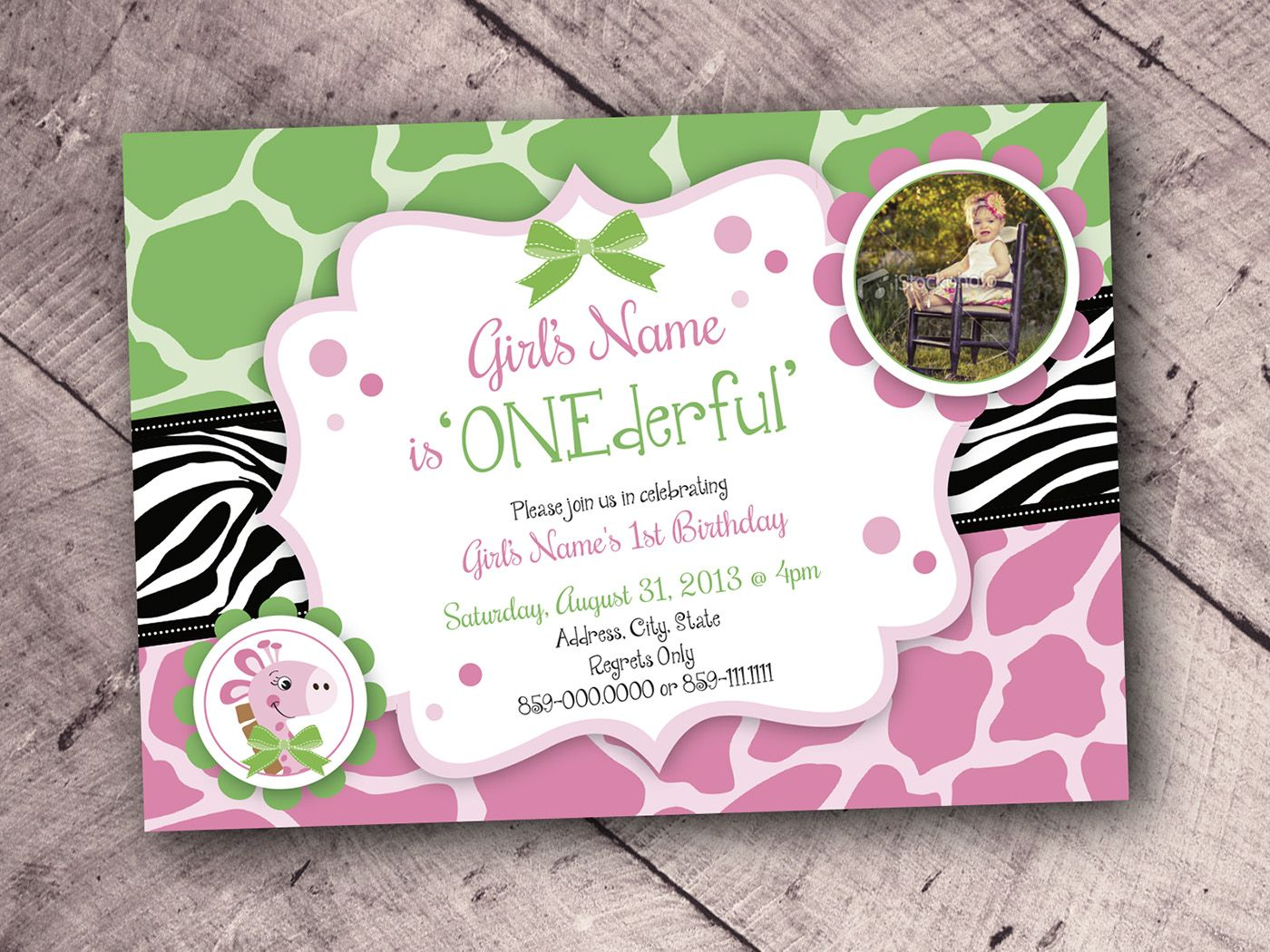 One Year Old Girl Birthday Invitation Design-Animal Print Theme Pink ...