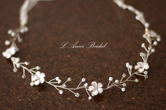 Fall Rustic Flower Wedding Circlet Crown Headpiece Autumn by LAmei