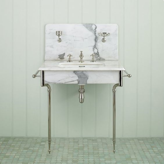 Stand Alone Marble Sink With Chrome Legs Amp Hardware Google Image Traditional Bathroom Vanity Console Sink Sink